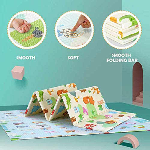Baby Play mat Folding Baby Care XPE playmat, Non-Toxic Non-Slip Reversible Waterproof Extra Large 70X78X0.4in
