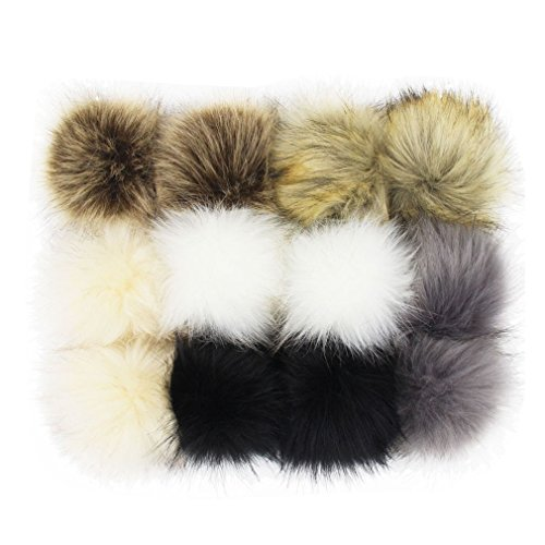 DIY 12pcs Faux Fox Fur Fluffy Pompom Ball for Hats Shoes Scarves Bag Charms (Popular Mix Colors)