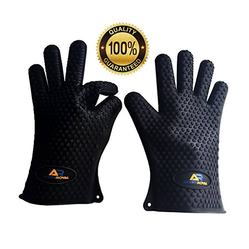 Grill Oven BBQ Gloves Akses Royal Maximum Heat Silicone Resistant - Perfect Heat Protection - One Size Fits Most (Fire Ice Grill compare prices)