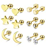 Jstyle 6 Pairs Stainless Steel Ball Stud Earrings for Men Women CZ Cartilage Helix Ear Piercing,Gold