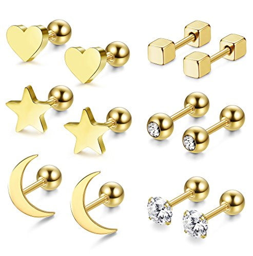 - Jstyle 6 Pairs Stainless Steel Ball Stud Earrings for Men Women CZ Cartilage Helix Ear Piercing,Gold
