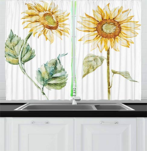 (Ambesonne Watercolor Kitchen Curtains, Alluring Sunflowers Summer Inspired Design Agriculture, Window Drapes 2 Panel Set for Kitchen Cafe, 55 W X 39 L Inches, Earth Yellow Pale Yellow Fern Green)