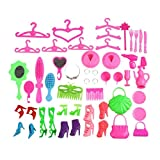 40Pcs/Set Barbie Doll Accessories Shoes Bags Glasses Hanger Hair Clip Child Toy - Random Color