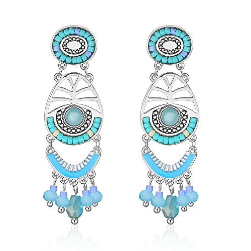 Beaded Earrings Bohemians Tassels Dangle Handmade Earrings for Women Girl (Silvery Blue) ()