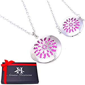 """Aromatherapy Essential Oil Diffuser Hypo-Allergenic 316L Surgical Grade Necklace Pendant Locket Jewelry Gift Set 24"""" Chain and 12 Refill Pads"""