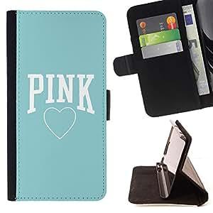 - Pink Baby Blue Heart Text Love Clean - - Caso de la cubierta de la piel cierre magn????tico Cartera de cuero del tir????n FOR Apple Iphone 5 / 5S Gaga Case