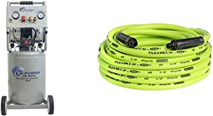 California Air Tools 10020C Ultra Quiet Oil-Free and Powerful Air Compressor, 2 HP & Flexzilla Air Hose, 3/8 in. x 50 ft, 1/4 in. MNPT Fittings, Heavy Duty, Lightweight, Hybrid, ZillaGreen