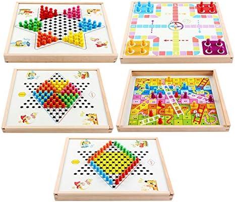 Juegos de Mesa para niños Madera de múltiples Funciones 5-en-1 Chinese Checkers estándar por diversión (Color : True Color, Size : 31.2x31.2x3.5cm): Amazon.es: Hogar