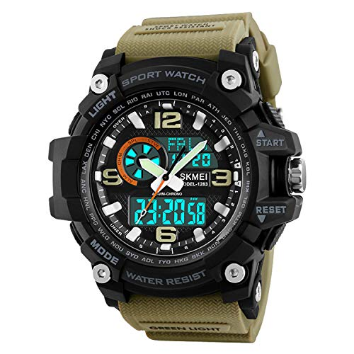 Mens Analog Digital Watch LED 50M Waterproof Outdoor Sport Watches Military Multifunction Casual Dual Display 12H/24H Stopwatch Calendar Wrist Watch-Khaki