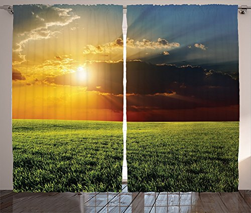 [Farm House Decor Curtains 2 Panel Set Dramatic Sunset over Agricultural Field Sunbeams Bursting Through Dark Clouds Scene Living Room Bedroom Decor Green Yellow,Size:2 x 54