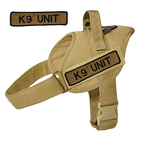 Service Dog Coyote Brown Vest Harness with 2 Embroidered Coyote Brown 'K9 Unit' Badges - Redline K9 (Medium) - Dog Harness Embroidered