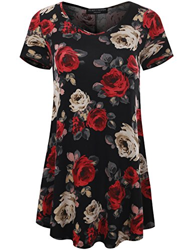 All for You Women's Short Sleeve V-Neck Flare Hem Floral Print Tunic Red 61068 -