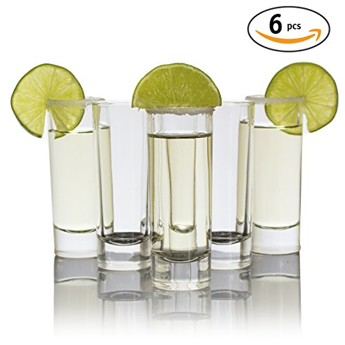 Shooter Glass Set (Cutehom Tall Tequila Shot Glasses - Set of 6 Crystal clear Glassware Kit)