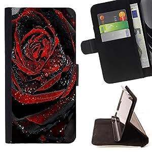 BullDog Case - FOR/Samsung Galaxy S4 Mini i9190 / - / black rose dew drop spring love /- Monedero de cuero de la PU Llevar cubierta de la caja con el ID Credit Card Slots Flip funda de cuer