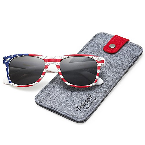 POLARSPEX POLARIZED UNISEX 80'S RETRO CLASSIC TRENDY STYLISH SUNGLASSES (American Flag | Smoke, - Usa Glasses