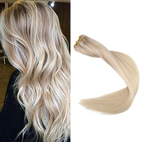Full Shine 22 inch Balayage Hair Bundles Weft Extensions Straight Remy Human Hair Bundles Sew in Weave Extensions 100g Color #18 Fading to #22 and #60 Balayage Extensions (Best Remy Human Hair)