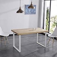 Adec - Natural, Mesa de Comedor, Mesa Salon Fija Color Roble Salvaje y  Blanco, Medidas: 140 x 80 x 76,5 cm de Alto