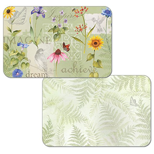 Counterart Set of 4 Reversible Wipe-Clean Decofoam Placemats, Wildflower Message