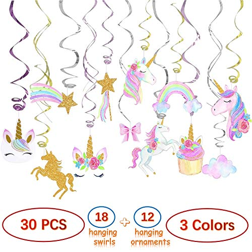 30 PCS Unicorn Party Supplies Decorations, Hanging Swirls for Birthday Party, Unicorn Party Favors