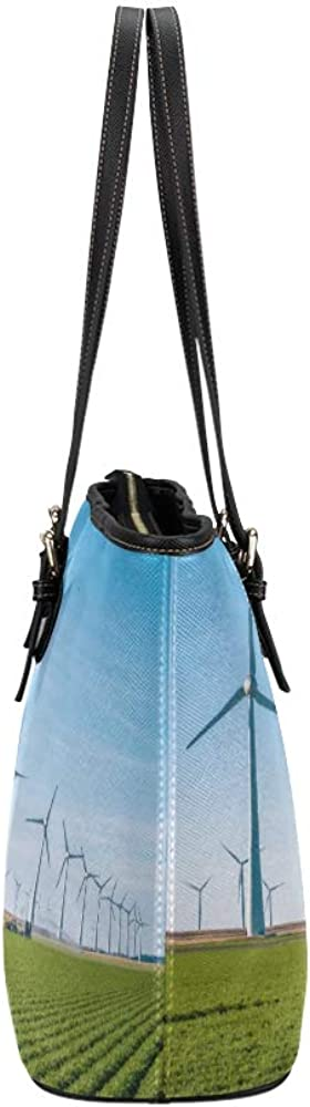 Outdoor Shoulder Bag Offshore Windmill Farm In The Ocean Leather Hand Totes Bag Causal Handbags Zipped Shoulder Organizer For Lady Girls Womens Handbags For Office