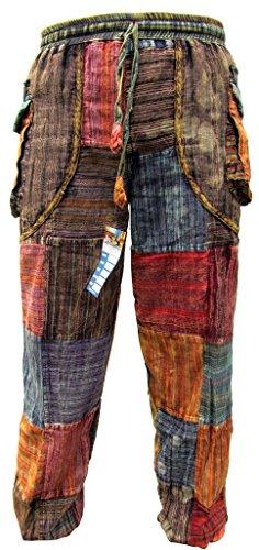 Little Kathhmandu Men's Cotton Peace Patch Stonewashed Casual Elastic Waist Trousers Small