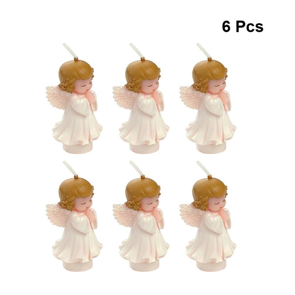 Amosfun 6 Piezas Adornos de Velas de parafina ángel sin Humo ...