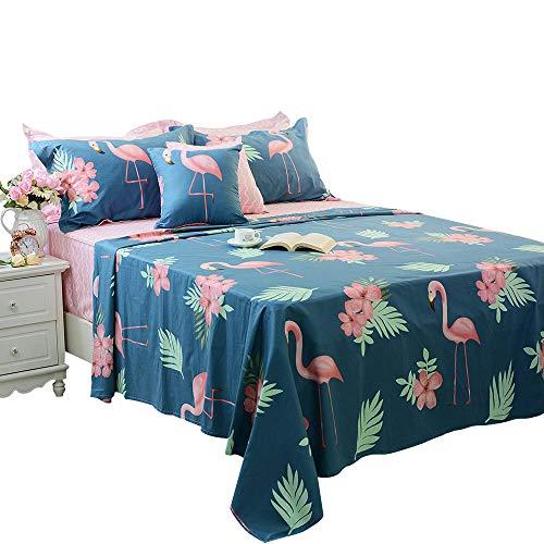(FADFAY Navy Blue Flamingo Bird Print Bed Sheet Set Cotton Pink Sheets 4-Piece Twin Extra Long)