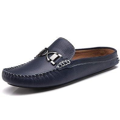 add7a99512083 Chaussure en Cuir sans Lacet Homme Pantoufle Bout Fermé Chaussure de Marche  de Ville au Loisir Résistant à l usure  Amazon.fr  Chaussures et Sacs