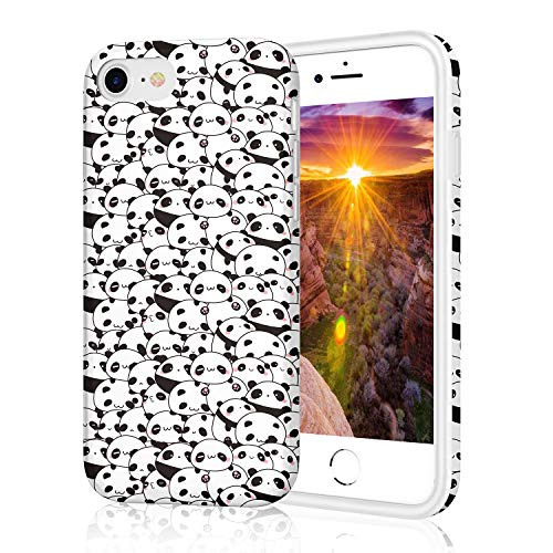 Protective Case for iPhone 8, Raised Edge Scratch Resistant Light Weight Thin Flexible Soft TPU Glossy Bright Rubber Silicone Phone Cover for iPhone 7 and iPhone 8 - Seamless Cute Panda Pattern
