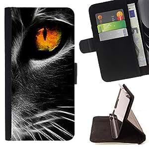 - Whiskers Cat Black Fire Eye Deep - Estilo PU billetera de cuero del soporte del tir???¡¯???3n [solapa de cierre] Cubierta- For Samsung Galaxy Core Prime ( Devil Case )