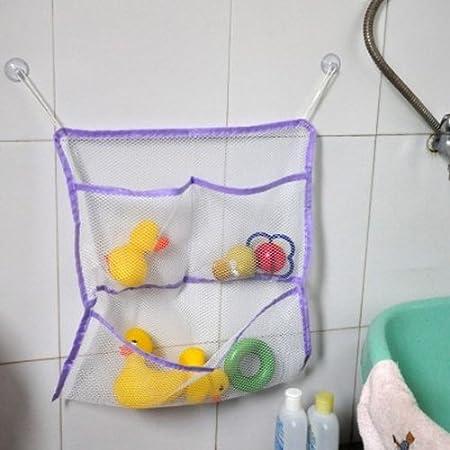 Baby Bath Bathtub Toy Mesh Storage Bag Organizer Cleaning Laundry Suction Bathroom Stuff Tidy Net (green) coffled