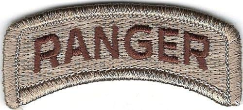 - Embroidery Patch Desert Tan Brown US Army Ranger Tab Hook Fastener 7/8