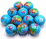 FIVOENDAR Set of 12 - Mini Globe Planet Earth Soft Foam Stress Ball Toy Bulk Educational Hand Wrist Stress Reliefs Squeeze Balls for Kids, School, Classroom, Party Favors - (2.5'' Inches)