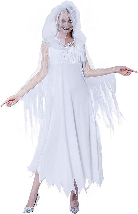 EraSpooky Disfraz de Fantasma de la Mujer de la Novia con Capucha ...