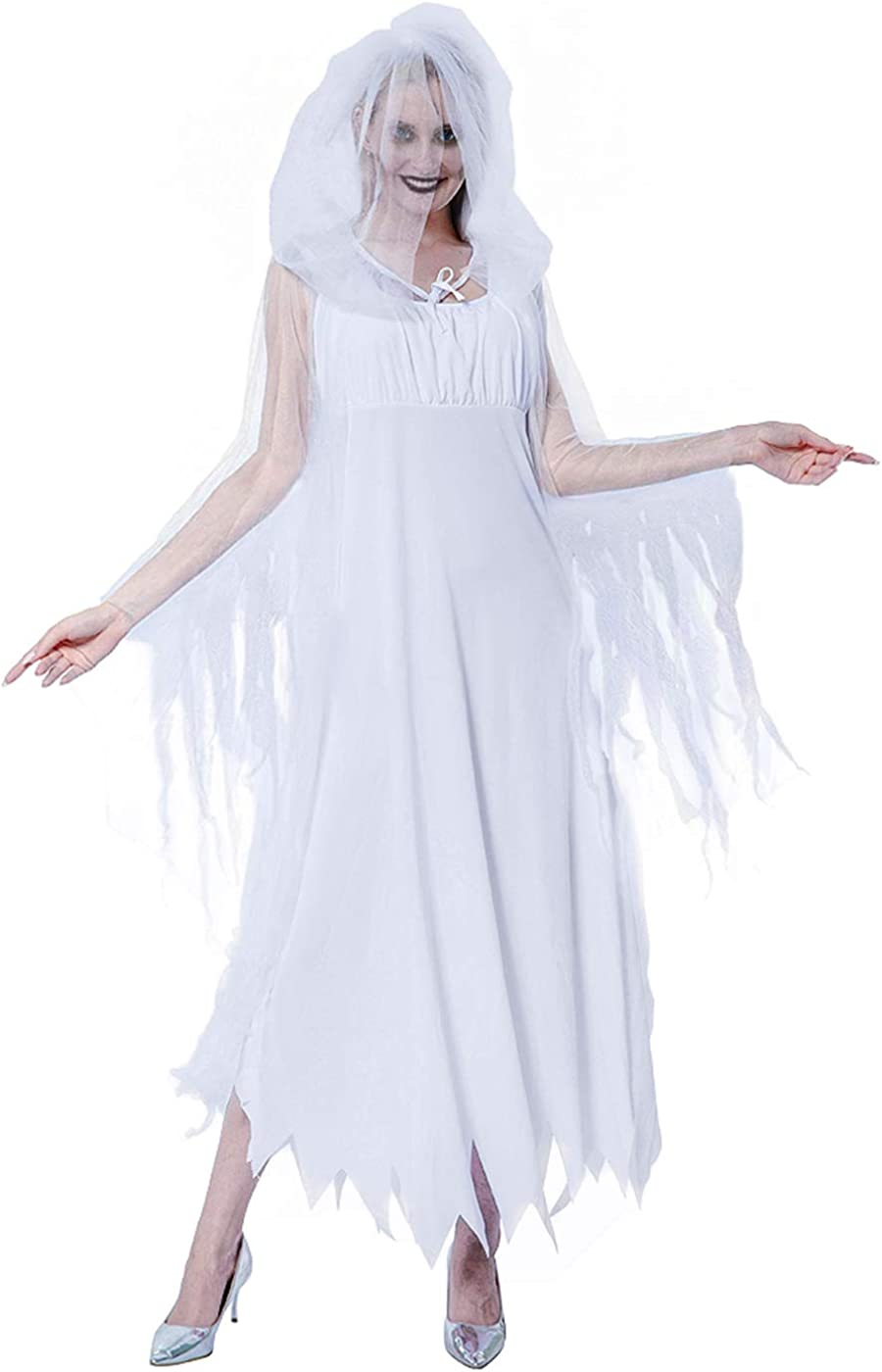 Women's Ghost Costume Bride White Hooded Cape Costume