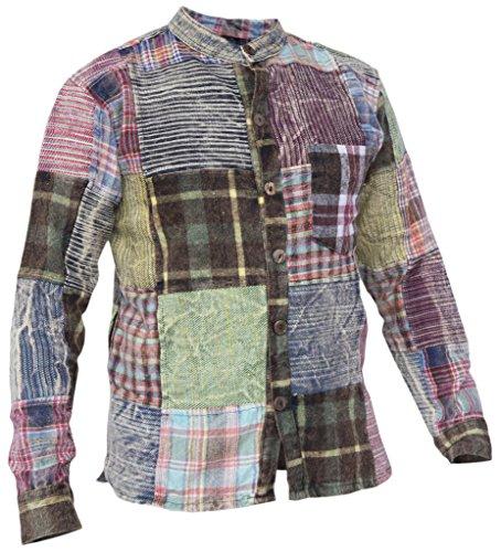 Little Kathmandu Herren Patchwork Winter Kragenloses Hemd Karohemd Shirt