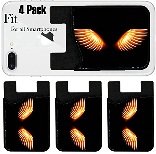 Liili Phone Card holder sleeve/wallet for iPhone Samsung Android and all smartphones with removable microfiber screen cleaner Silicone card Caddy(4 Pack) IMAGE ID: 21018128 Wing in flame and (Velocity Wing)