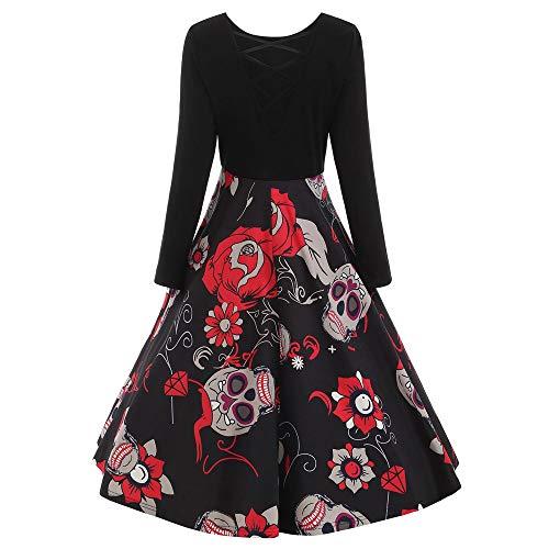 kaifongfu Lace Dress Women Long Sleeve Skull Print Evening Dress(Black,L) -