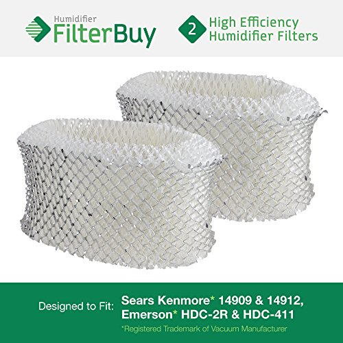 2 - Holmes & Sunbeam Part # HWF62, Hamilton Beach Part # 05910 Humidifier Replacement Filters. Designed by FilterBuy in the USA.