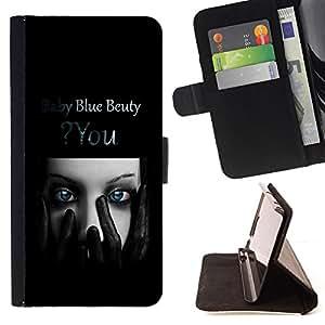 - Blue Beauty - - Prima caja de la PU billetera de cuero con ranuras para tarjetas, efectivo desmontable correa para l Funny HouseFOR Samsung Galaxy S6