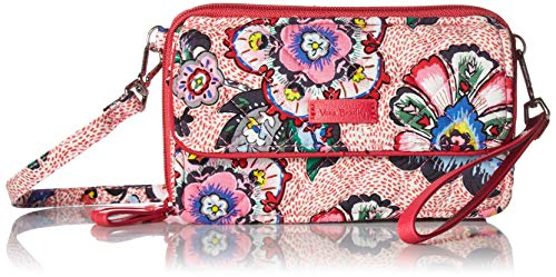 Vera Bradley womens Iconic RFID All in One Crossbody, Signature Cotton, Stitched Flowers, One Size