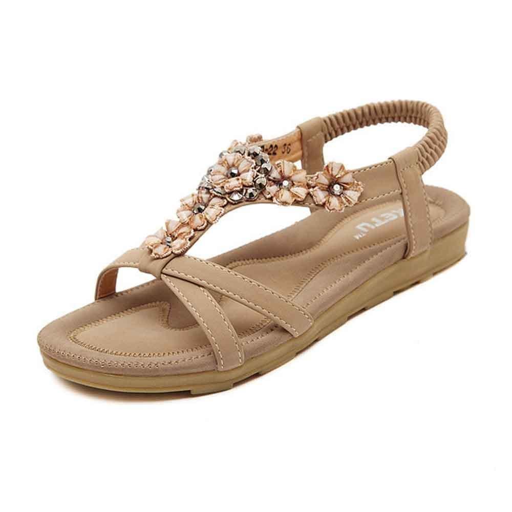 Clearance,YANG-YI Summer Women Fashion Sweet Beaded Toe Flats Bohemian Sandals (Khaki, US-9.5)