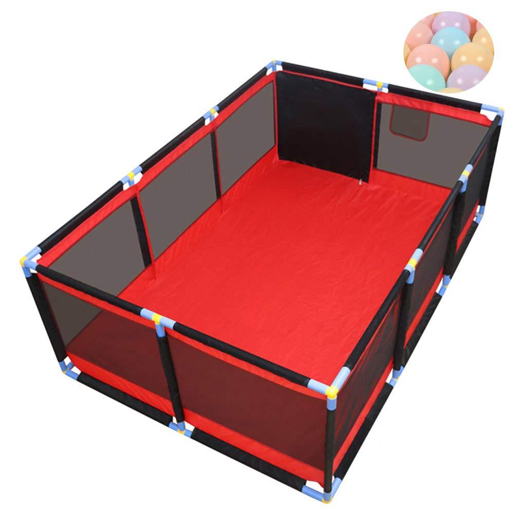ベイビープレイペンキッズラージフェンスセーフティボックスアクティビティセンター屋内&屋外スペース通気性の遊び場、と、200オーシャンボール、190×128×66 cm   B07TCYZKPJ
