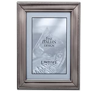 Lawrence Frames 310146 Brushed Pewter Metal Classic Rope Picture Frame, 4 by 6-Inch