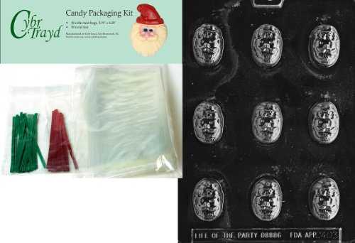 Cybrtrayd MdK50C-C403 Santa Face Bon Bon Christmas Chocolate Mold with Chocolate Packaging Kit and Molding Instructions, Includes 50 Cello Bags, 25 Red and 25 Green Twist Ties