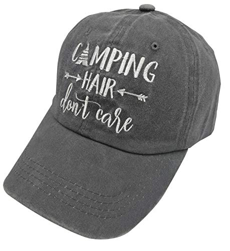 f335ab21f4b23 HHNLB Unisex Camping Hair Don t Care 1 Vintage Jeans Baseball Cap Classic  Cotton Dad Hat Adjustable Plain Cap (Embroidered Gray, One Size)
