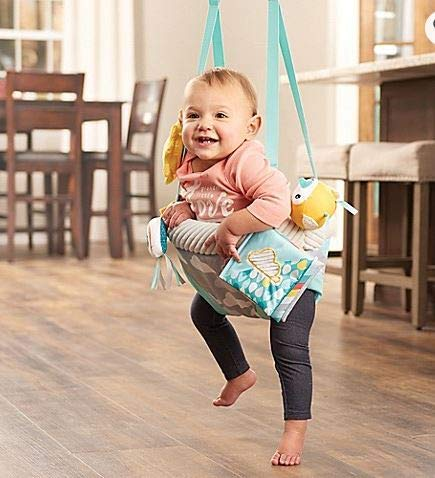 Easy to Travel and Easy to Clean Evenflo ExerSaucer Sweet Skies Doorway Jumper Featuring Fun Removable Toys