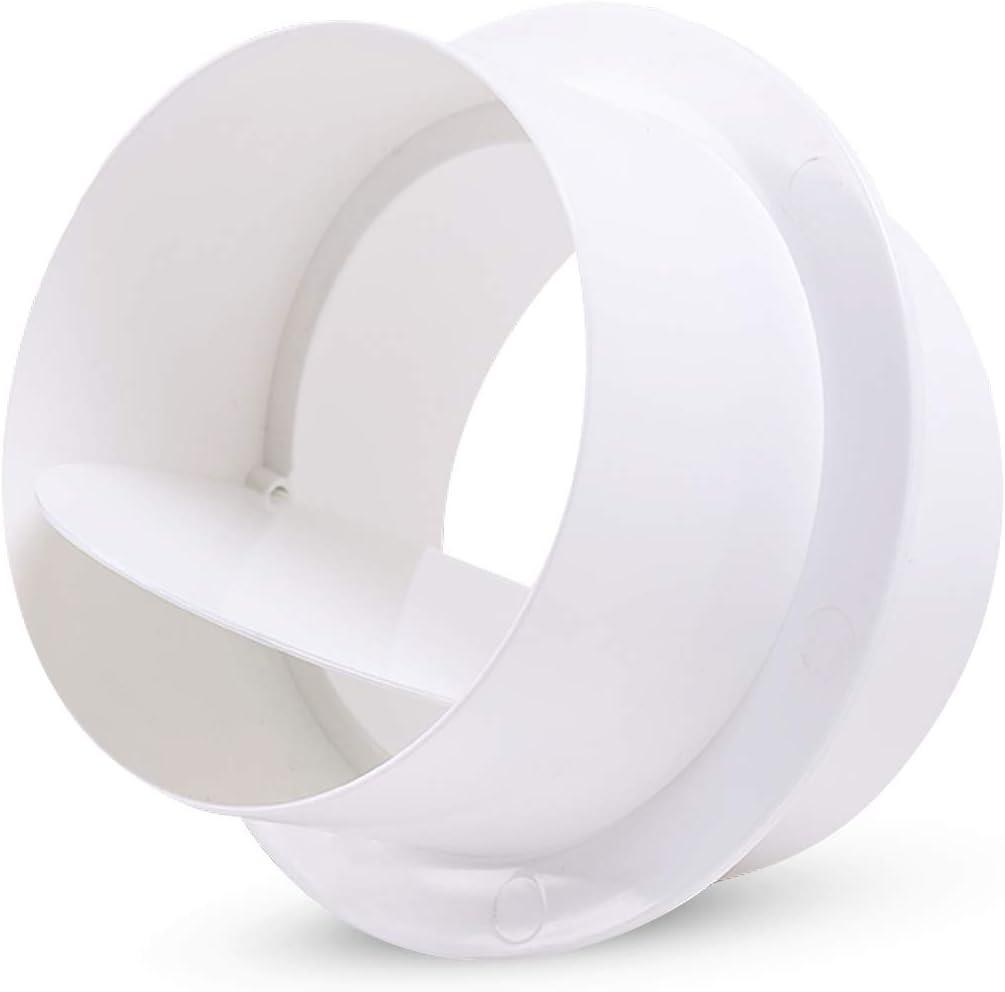 Hon&Guan ø100mm Compuerta Antirretorno Conector de Tubo de Ventilación con Válvula Antirretorno para Extractores, Baño, Kitchen, Ventilación Doméstica, Hidroponía, Blanco (ø100mm)