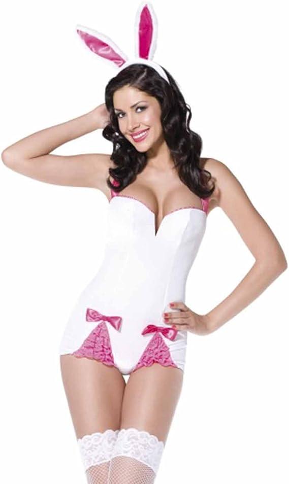 Disfraz blanco y rosa de conejita sexy para mujer: Amazon.es ...