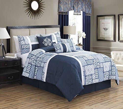(KingLinen 11 Piece Cristos Navy/White Bed in a Bag Set Queen)